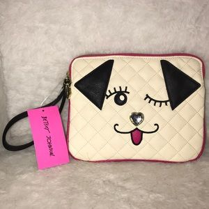 Betsey Johnson quilted Doggie wristlet